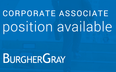 Corporate Associate Position Available at BurgherGray